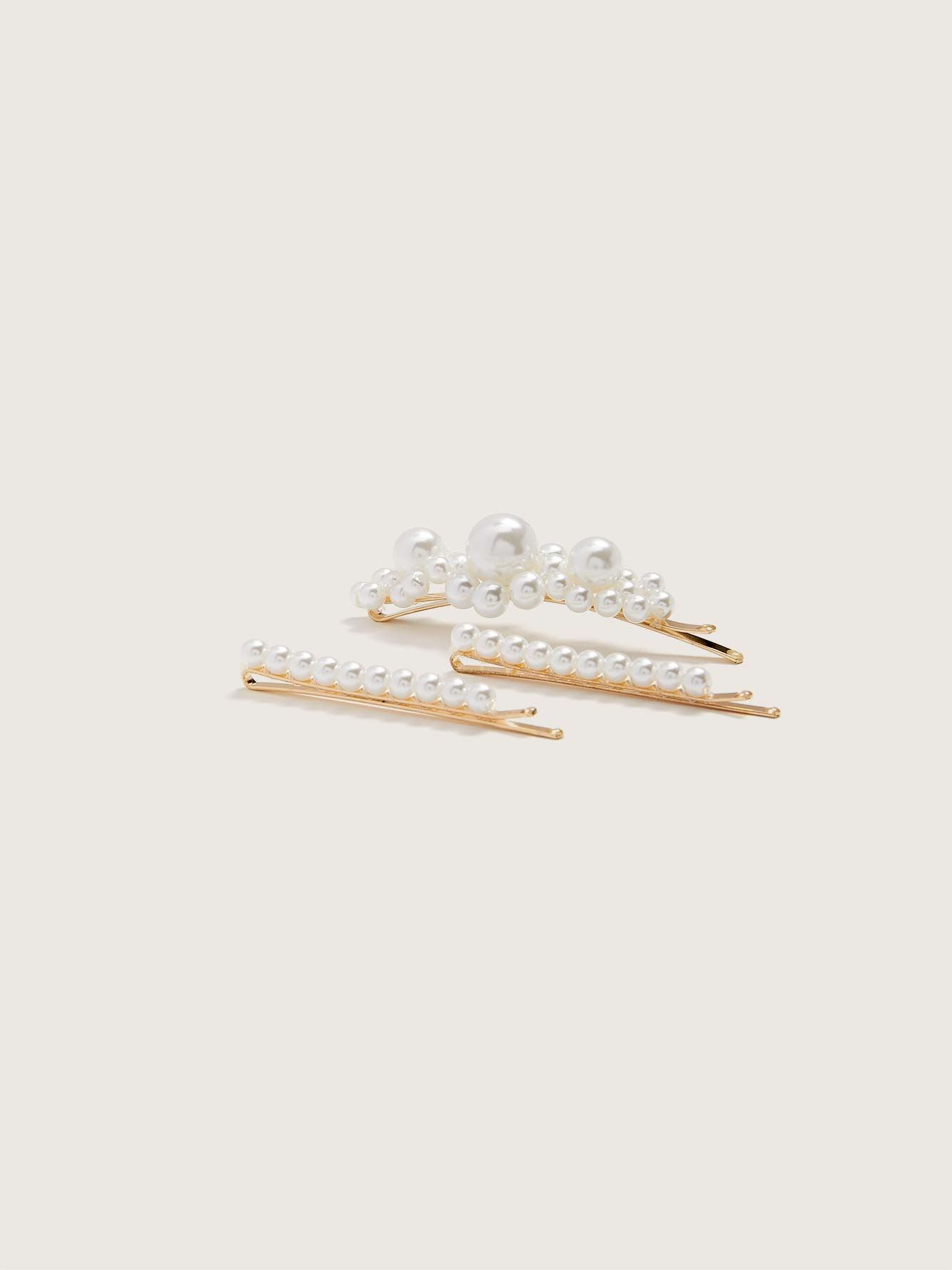 Set of 3 White Pearl Hair Pins - Addition Elle
