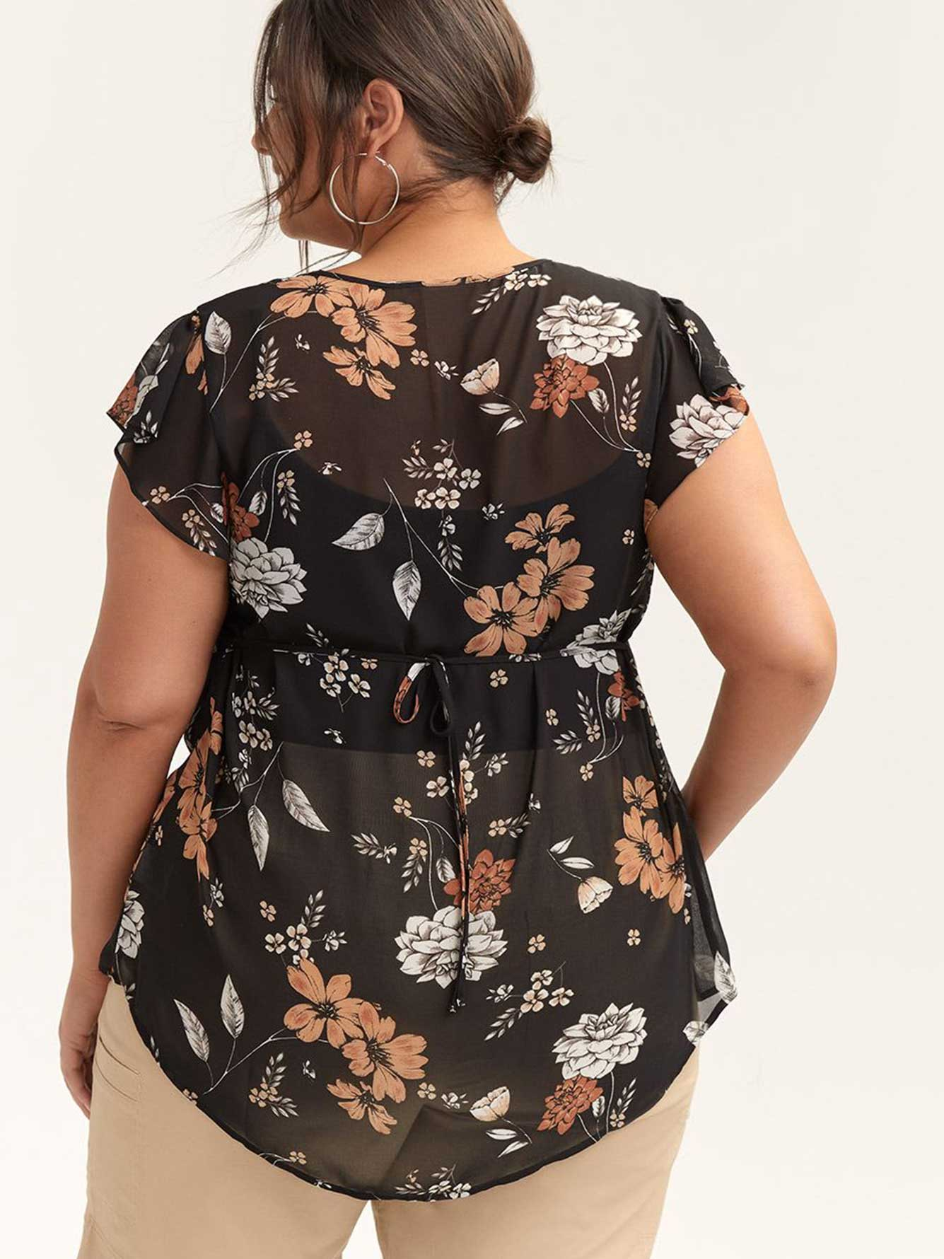Printed Flutter Sleeve Blouse with Ruffles - In Every Story