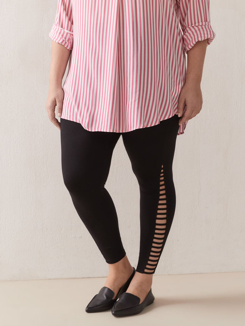 Solid Legging With Side Lattice Detail - Addition Elle
