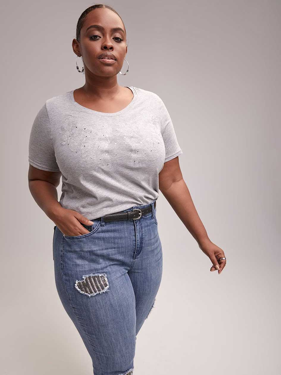 Embroidered Top with Ornaments - d/C JEANS