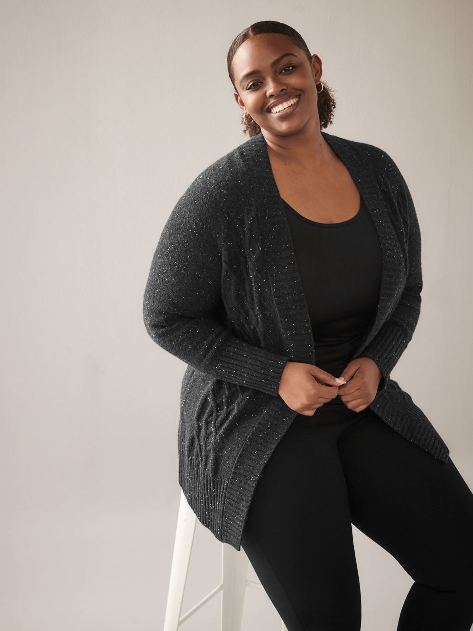 Cable Knit Nep Yarn Cardigan - In Every Story