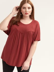 Flutter-Sleeve Top with Smocked Neckline