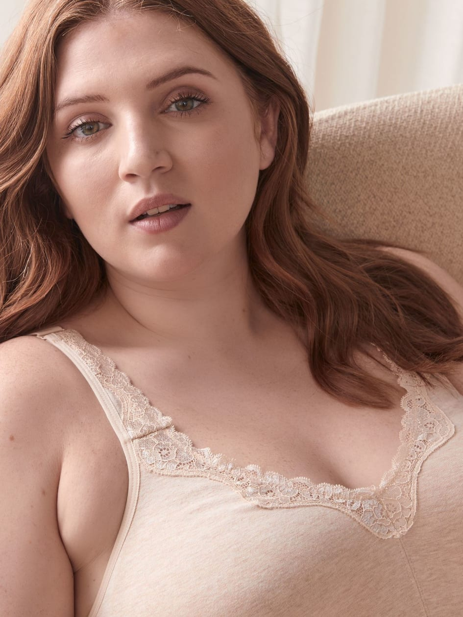 Heathered Wirefree Cotton Bra, G & H Cups