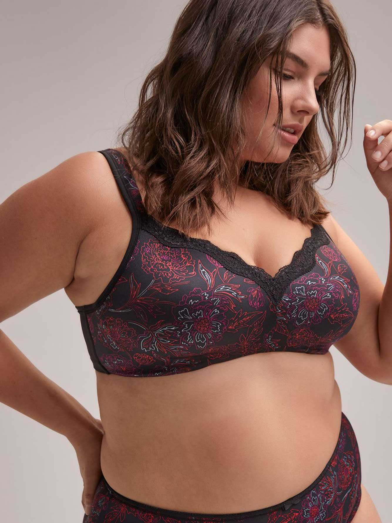 Floral Padded Wirefree Bra with Lace - ti Voglio