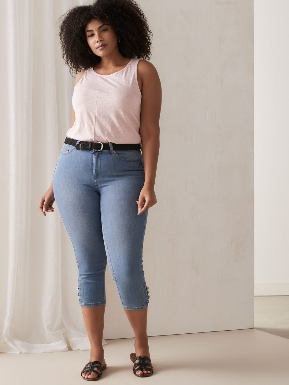 39445bc03a1 Denim Capri with Shank Buttons at Hem