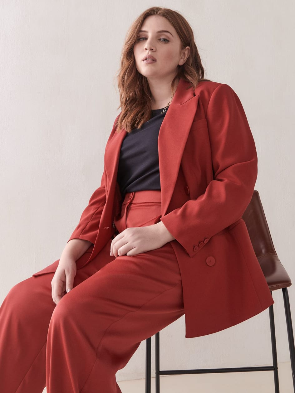 Long Double-Breasted Red Blazer - Addition Elle