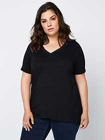 Black Top with Double V-Neck Band at Front - In Every Story
