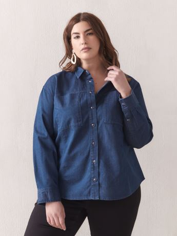 Long-Sleeve Denim Shirt - Addition Elle