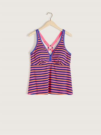 Textured Striped Tankini Top - Addition Elle
