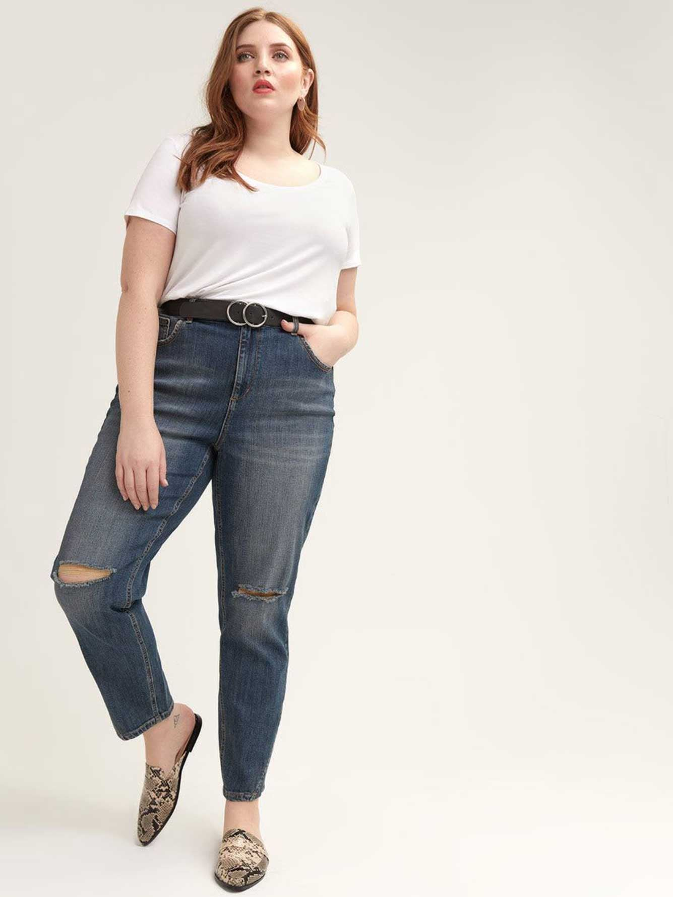 High-Waisted Jeans with Slit Detail