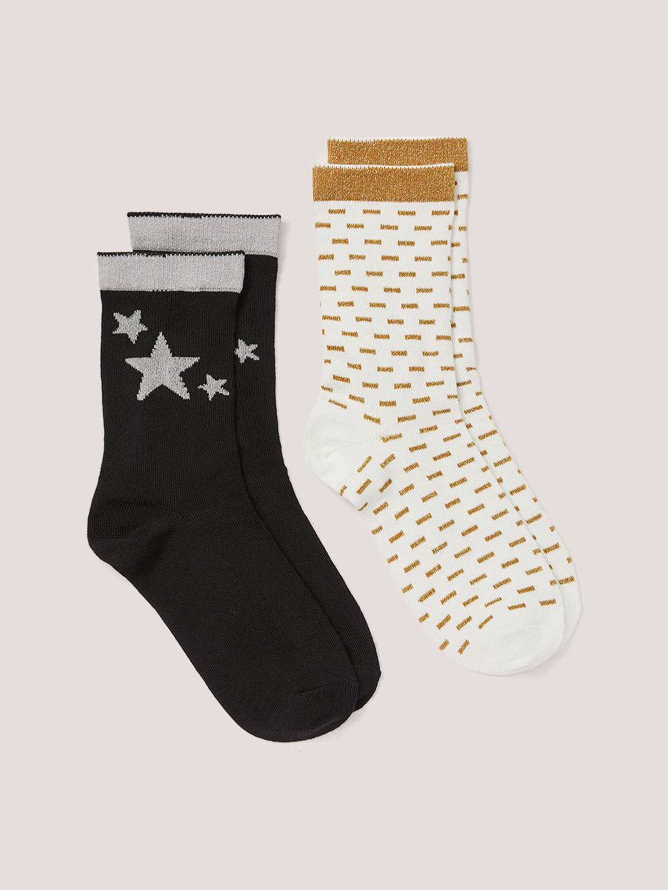 608b475698d9 2 Pairs of Lurex Socks with Star Motif | Penningtons