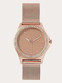 Rose Gold Watch with Mesh and Rhinestone