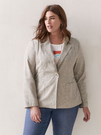Semi-Fitted Linen Blazer - Addition Elle