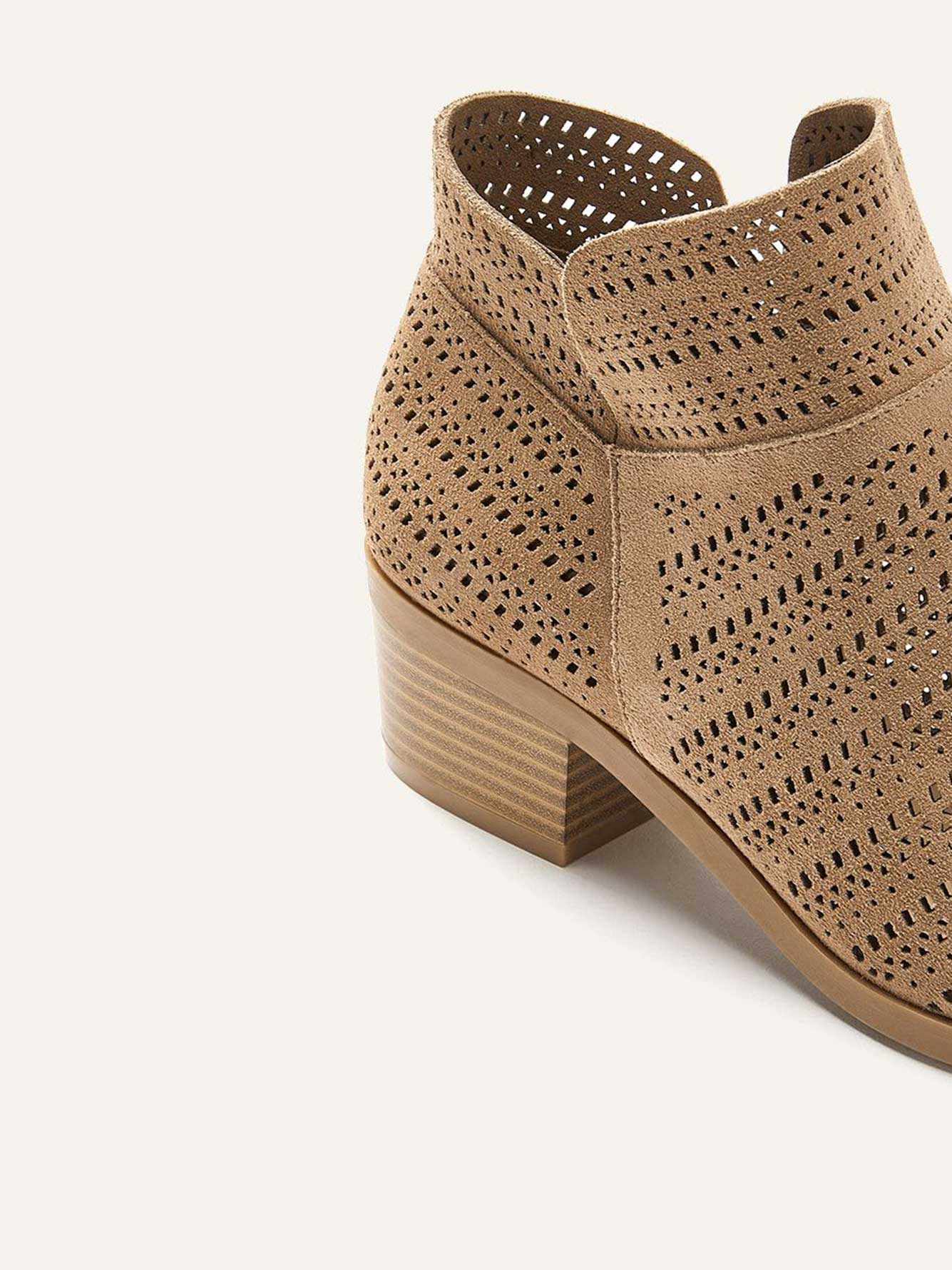 Wide Laser Cut Suede Booties