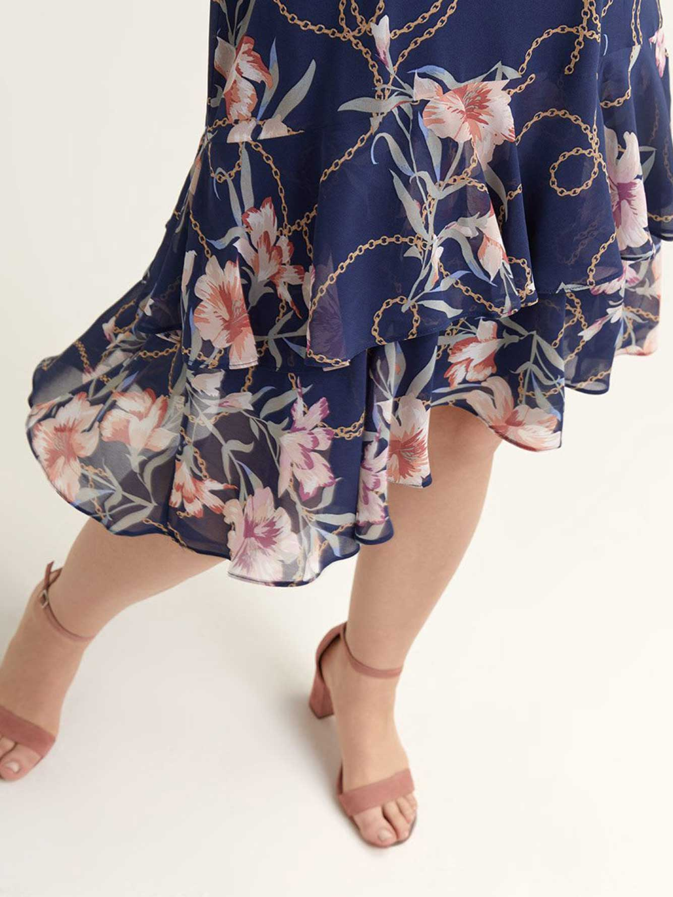 Floral Navy Dress with Flounce Hem