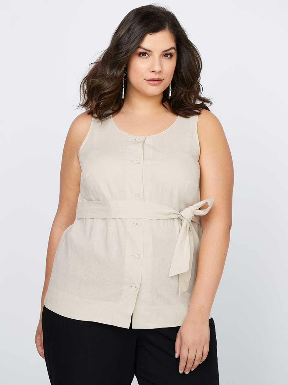 Sleeveless Linen Blouse with Belt - In Every Story