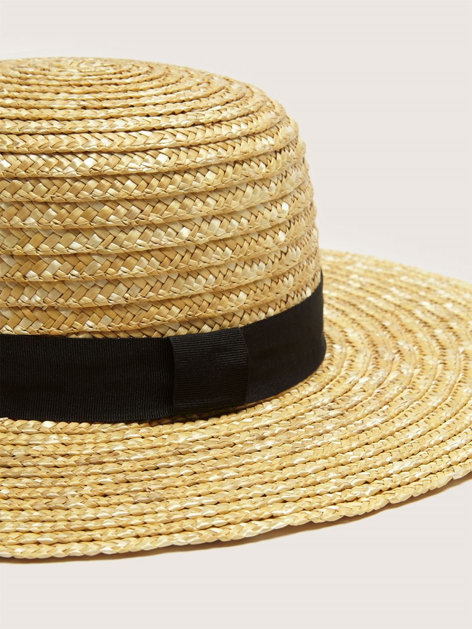 Straw Hat with Grosgrain Ribbon - Addition Elle