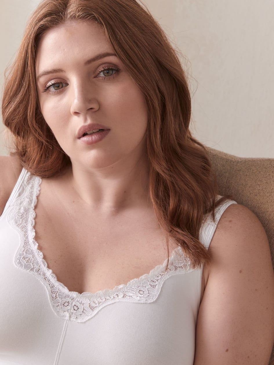 Cotton Wireless Bra with Lace Trim - ti Voglio