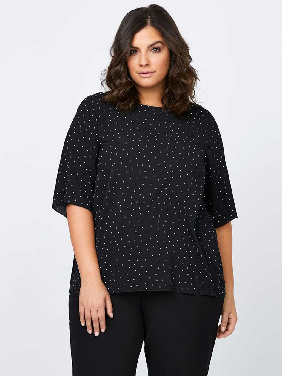 Polka Dot Printed Crepe Blouse - In Every Story