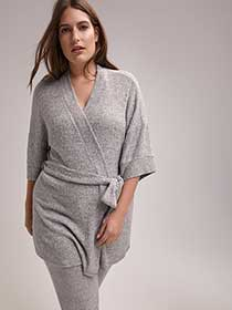 Ribbed Lounge Cardigan with Sash - ti Voglio