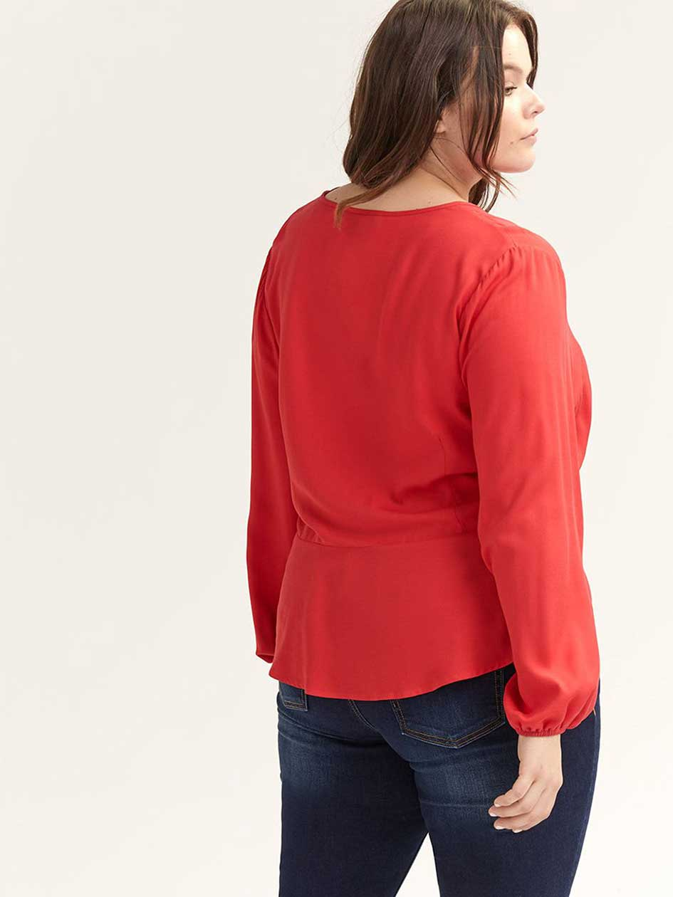 ONLINE ONLY - Balloon Sleeve Wrap Blouse - L&L