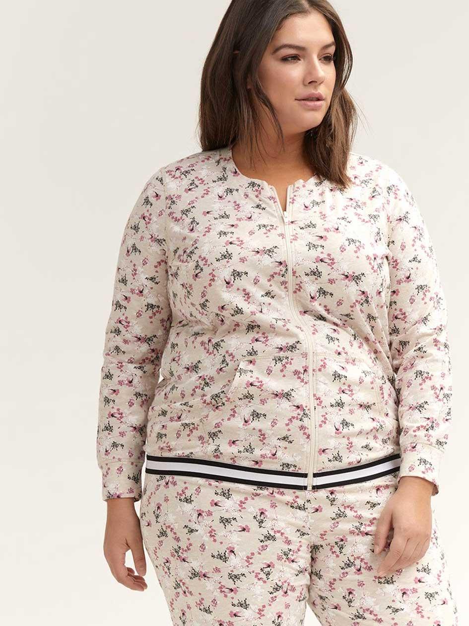 Printed Pyjama Jacket with Kangaroo Pocket - ti Voglio 66166bd859e
