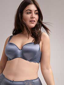 Shiny Padded T-Shirt Bra with Lace - ti Voglio