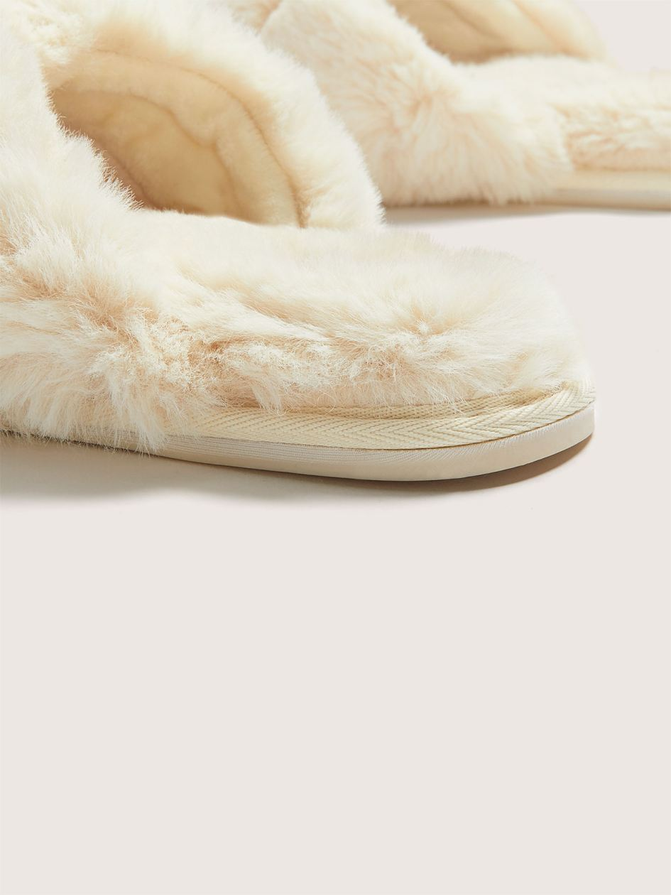 Faux Fur Crossover Slippers - Addition Elle
