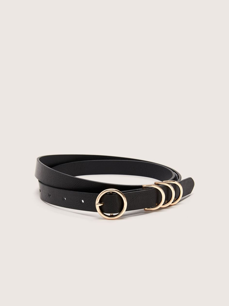 Classic Skinny Belt with Gold Buckle - Addition Elle