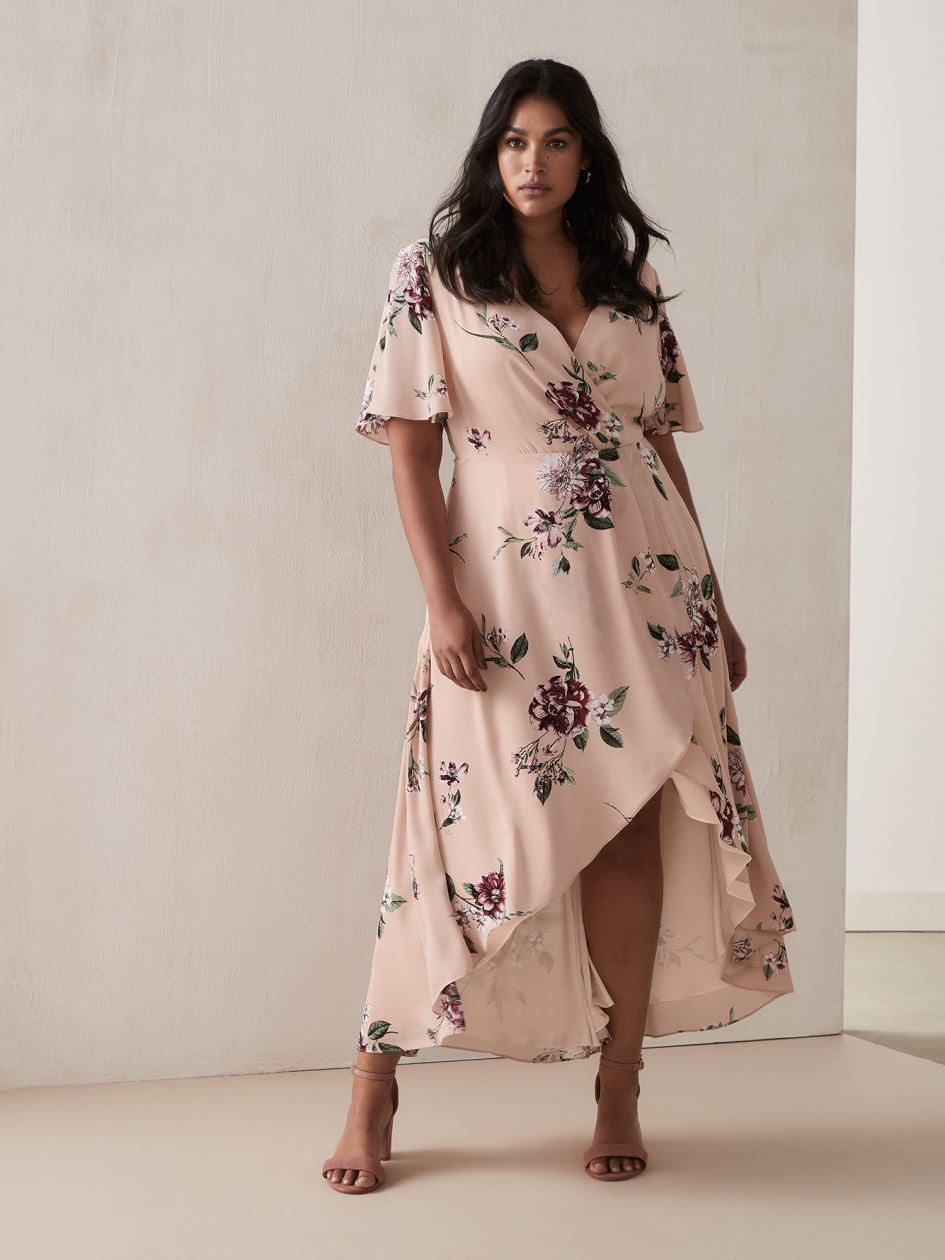 Maxi Wrap Dress with Flutter Hem