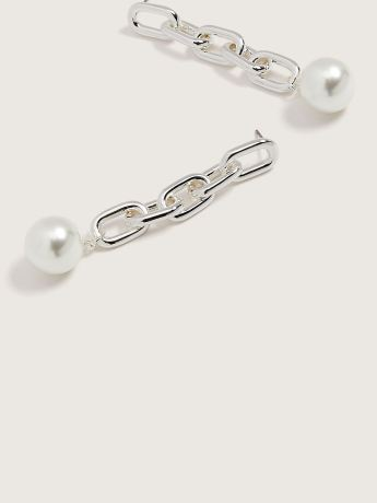 Glass Pearl Chain Link Earrings - Addition Elle