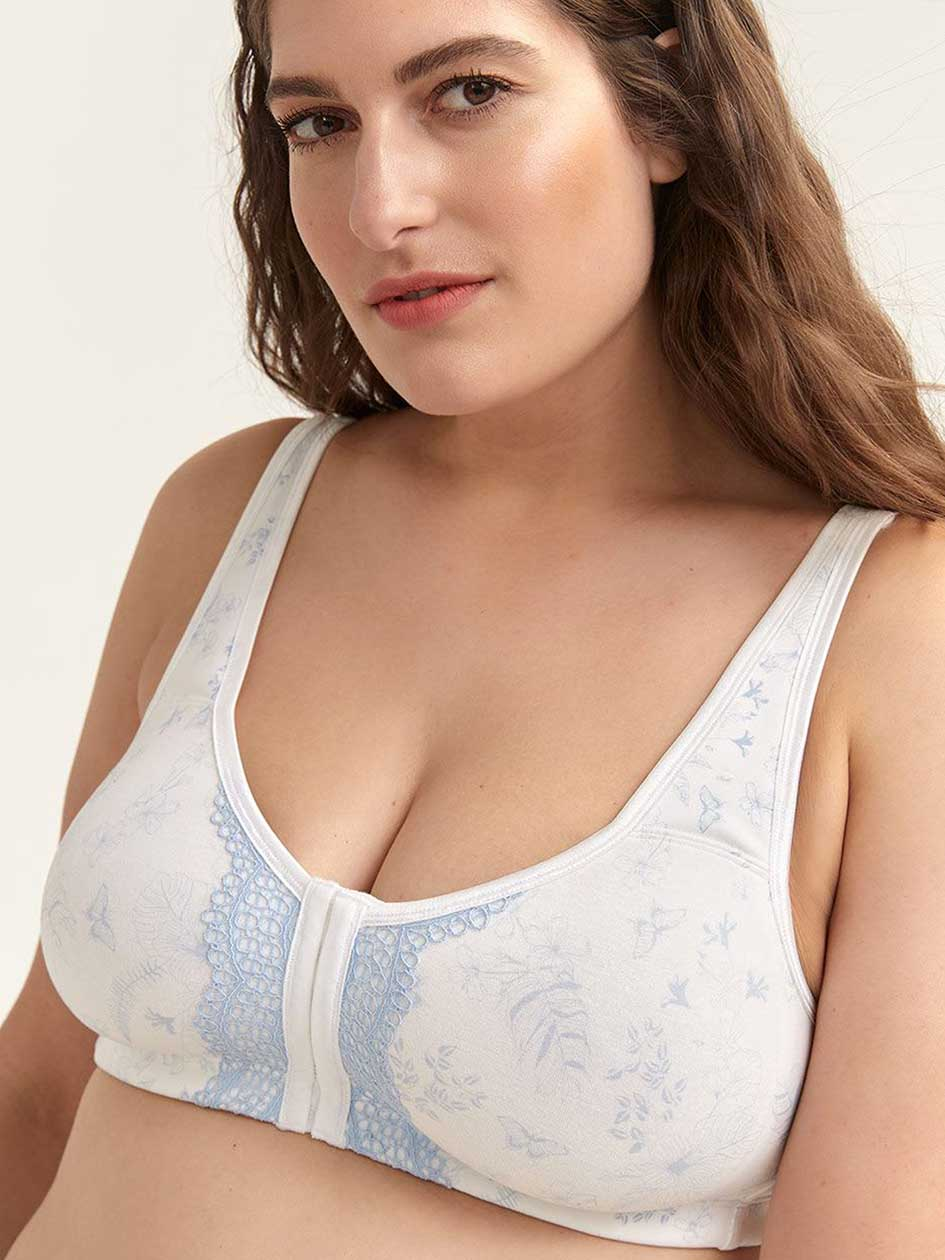 Cotton Wirefree Bra with Front Closure - ti Voglio