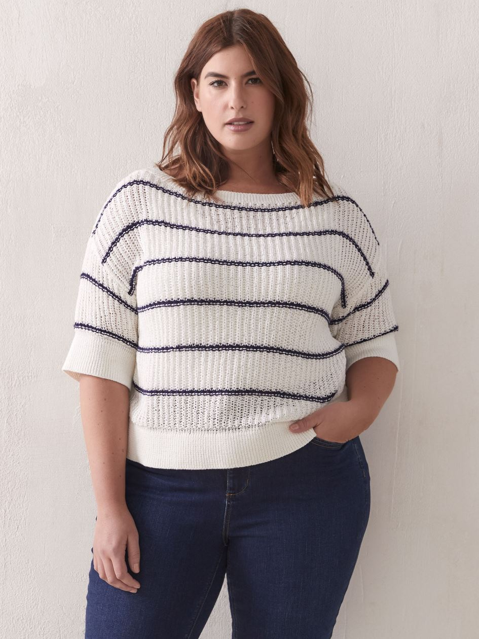 Loose-Fit Boat-Neck Sweater - Addition Elle