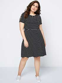 Striped Fit and Flare Dress - In Every Story