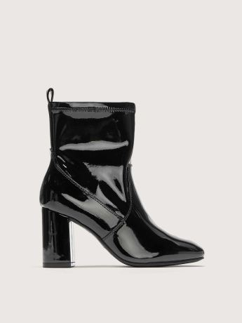 Wide Block Heel Patent Bootie - Addition Elle