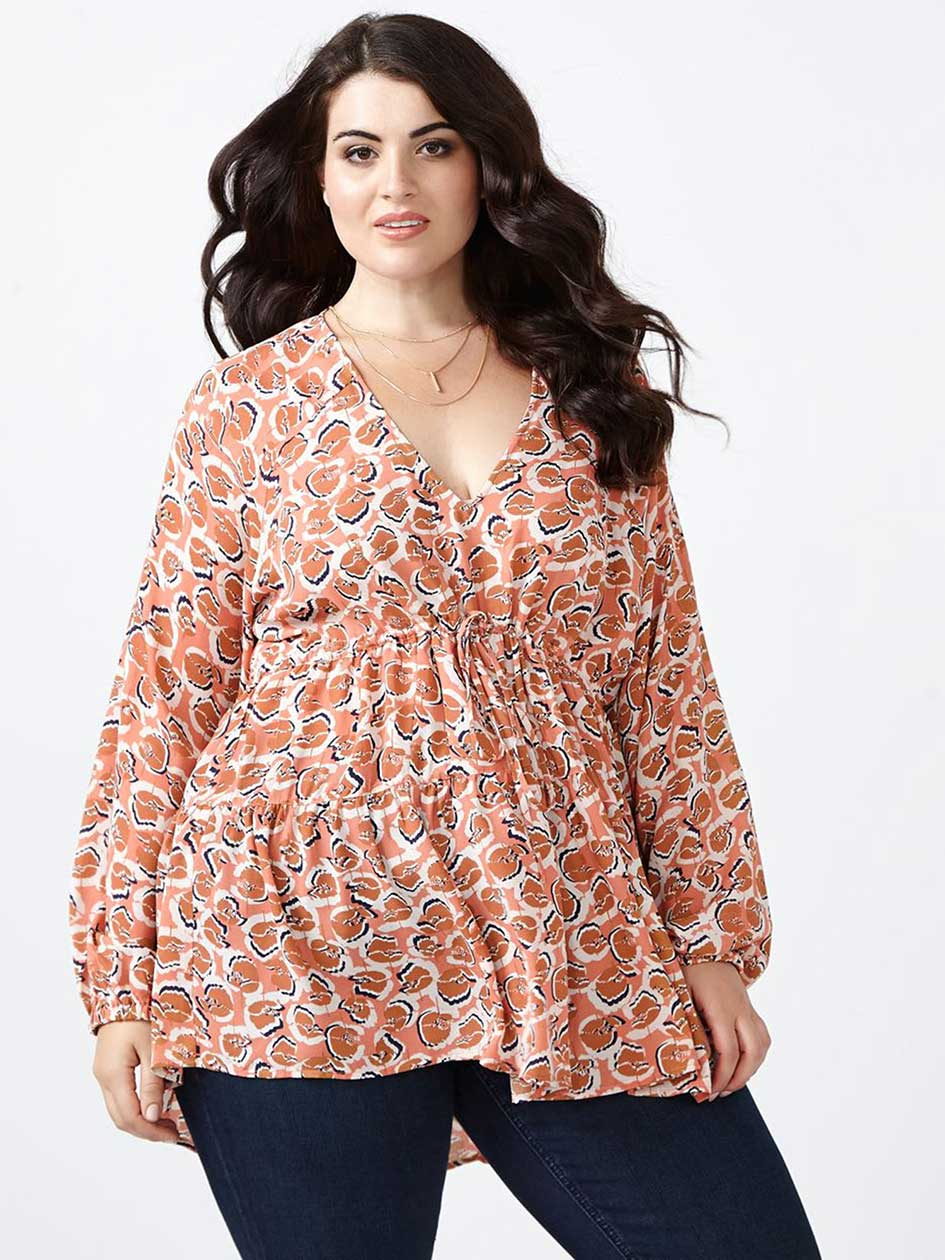 MELISSA McCARTHY Printed Tiered Blouse