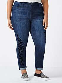 d/c JEANS - Petite Slightly Curvy Fit Straight Leg Jean with Embellishment