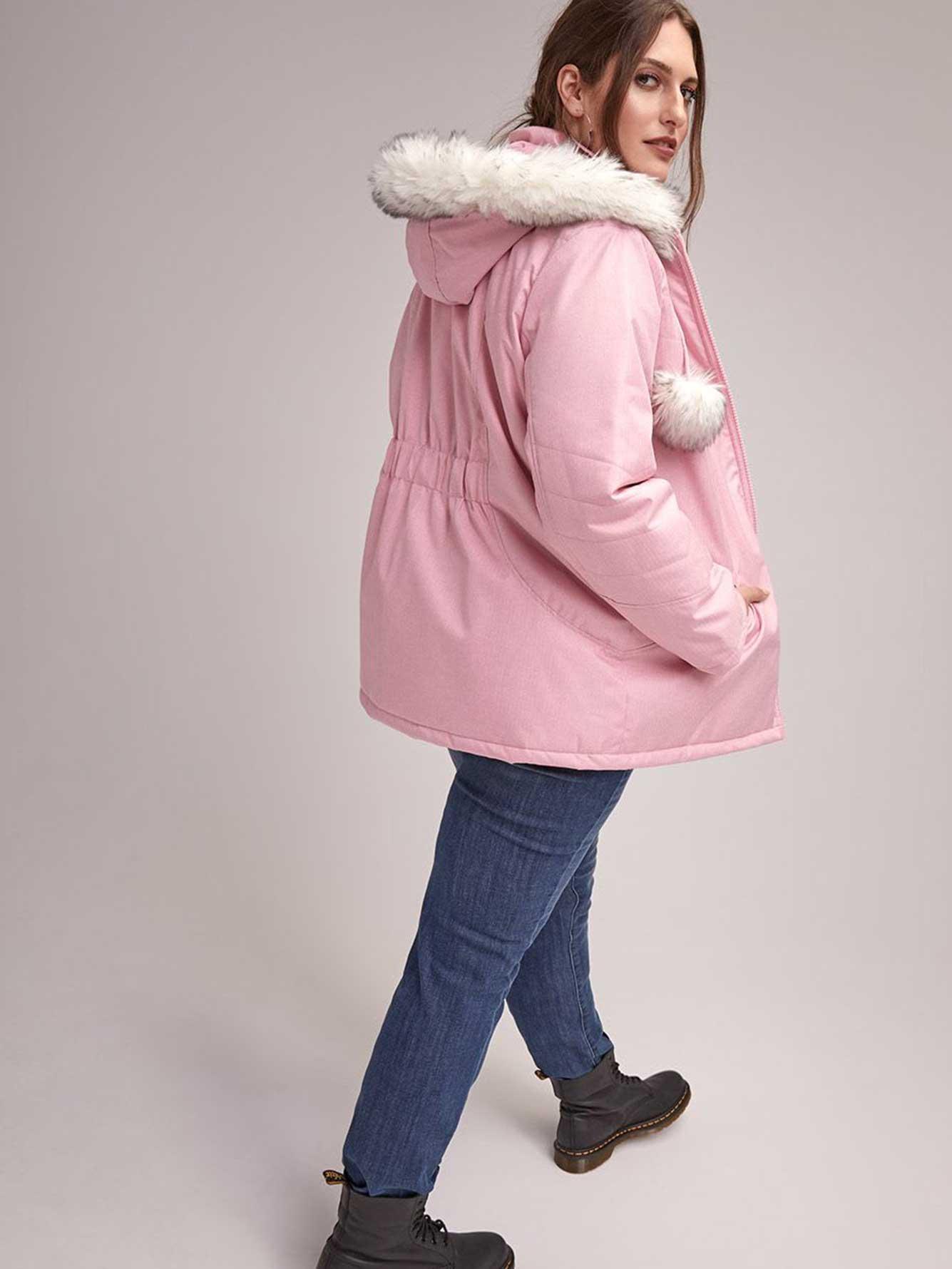 Plus Size Ski Jacket With Hood And Pom Pom Activezone Penningtons