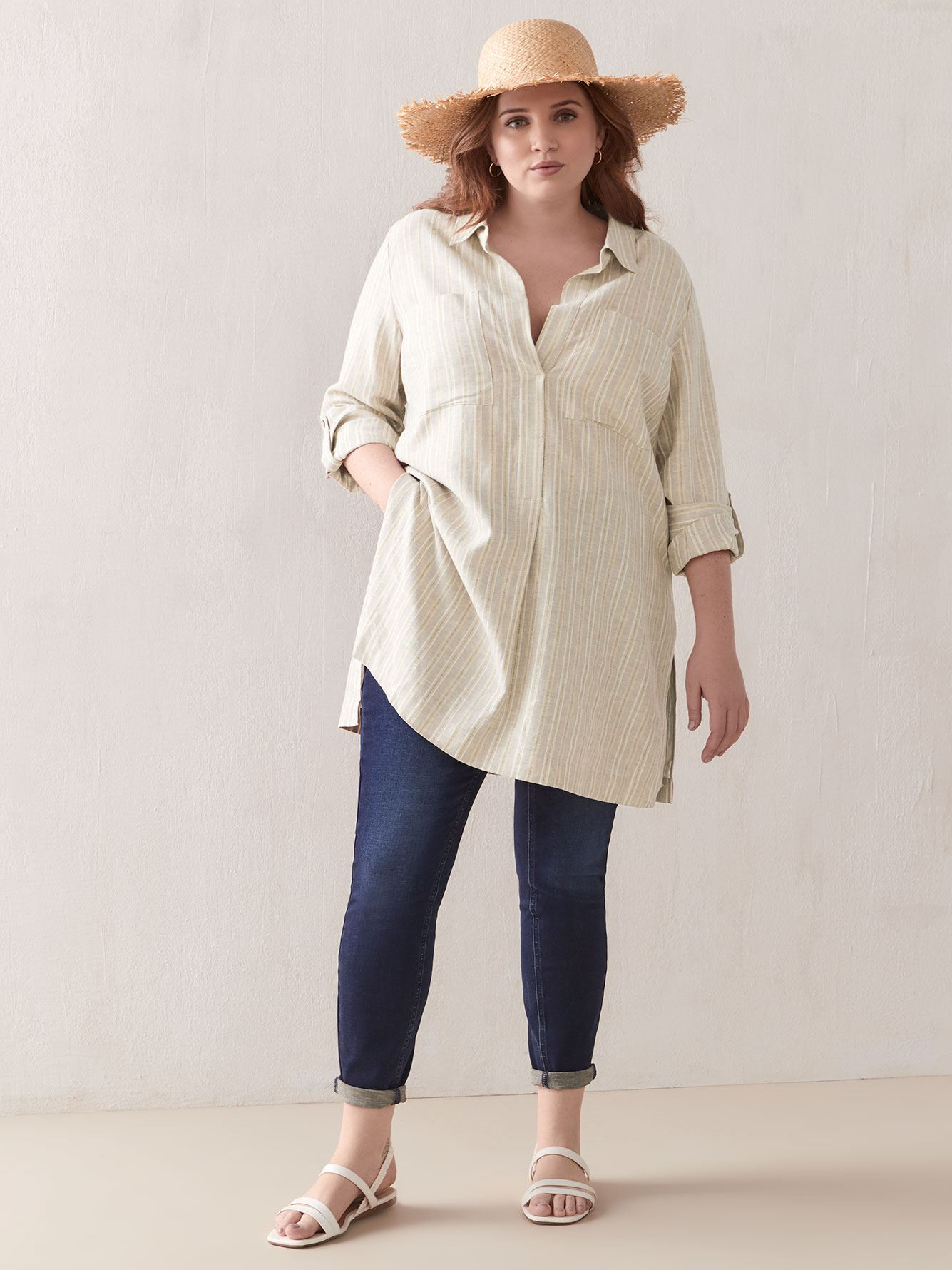 Pop-Over Linen Tunic Blouse - Addition Elle