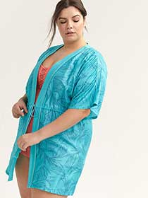 Printed Swim Cover-Up with Drawstrings - Sea