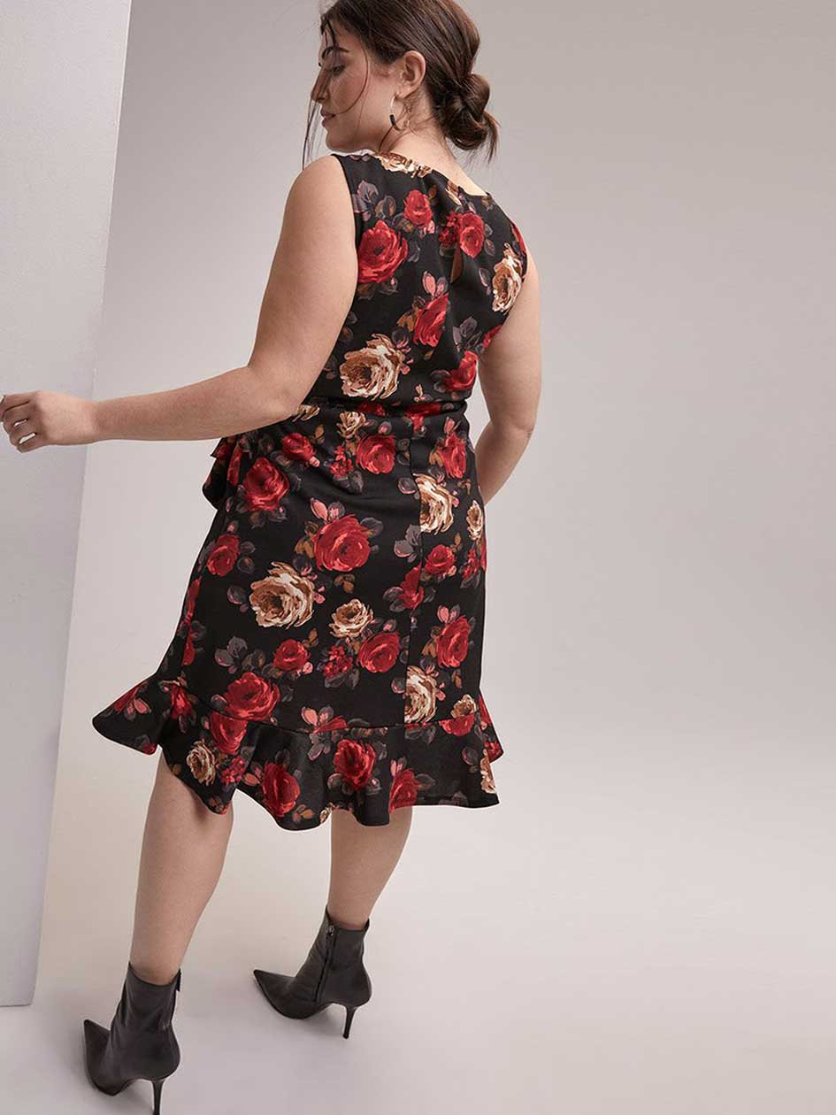 Printed Fit and Flare Dress with Ruffle Detail - In Every Story