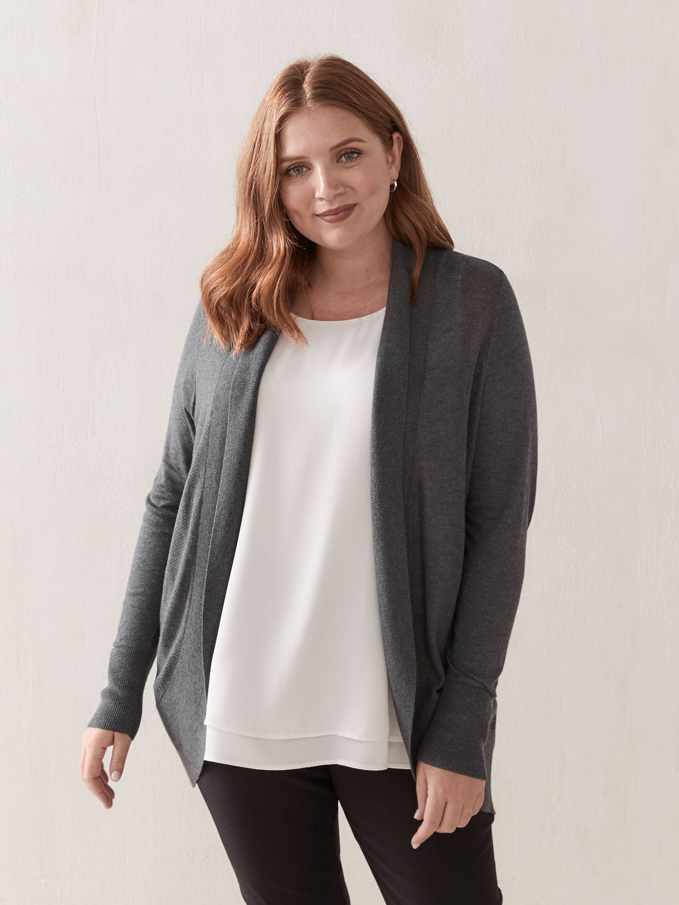 Open Knitted Cardigan with Shawl Collar - Addition Elle