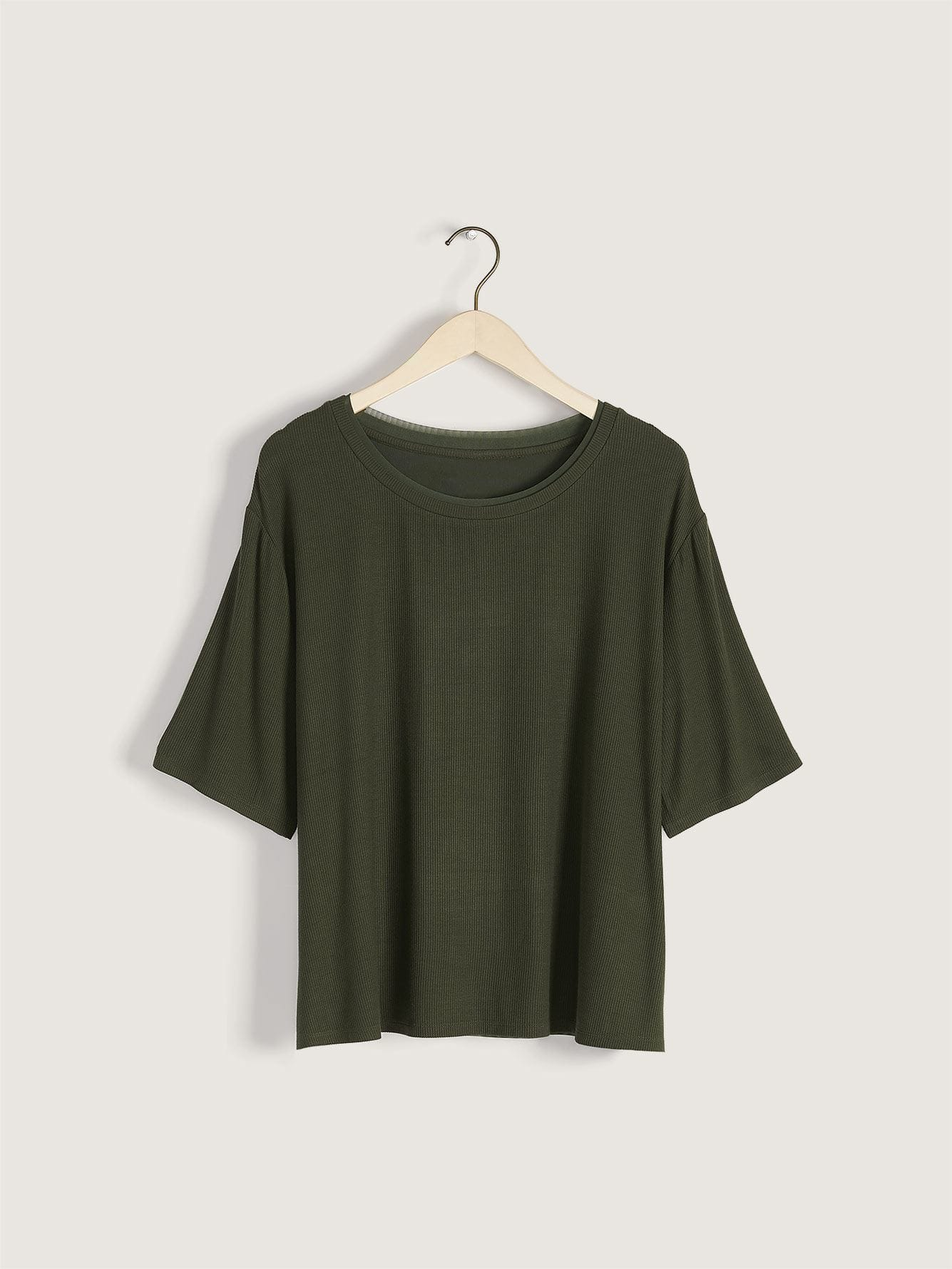 Addition Elle - Ribbed Dropped Shoulder T-Shirt