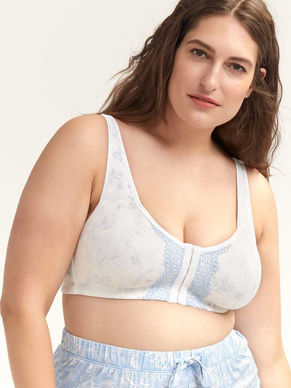 301b7d8eb6bb0 Wirefree Cotton Bra with Front Closure