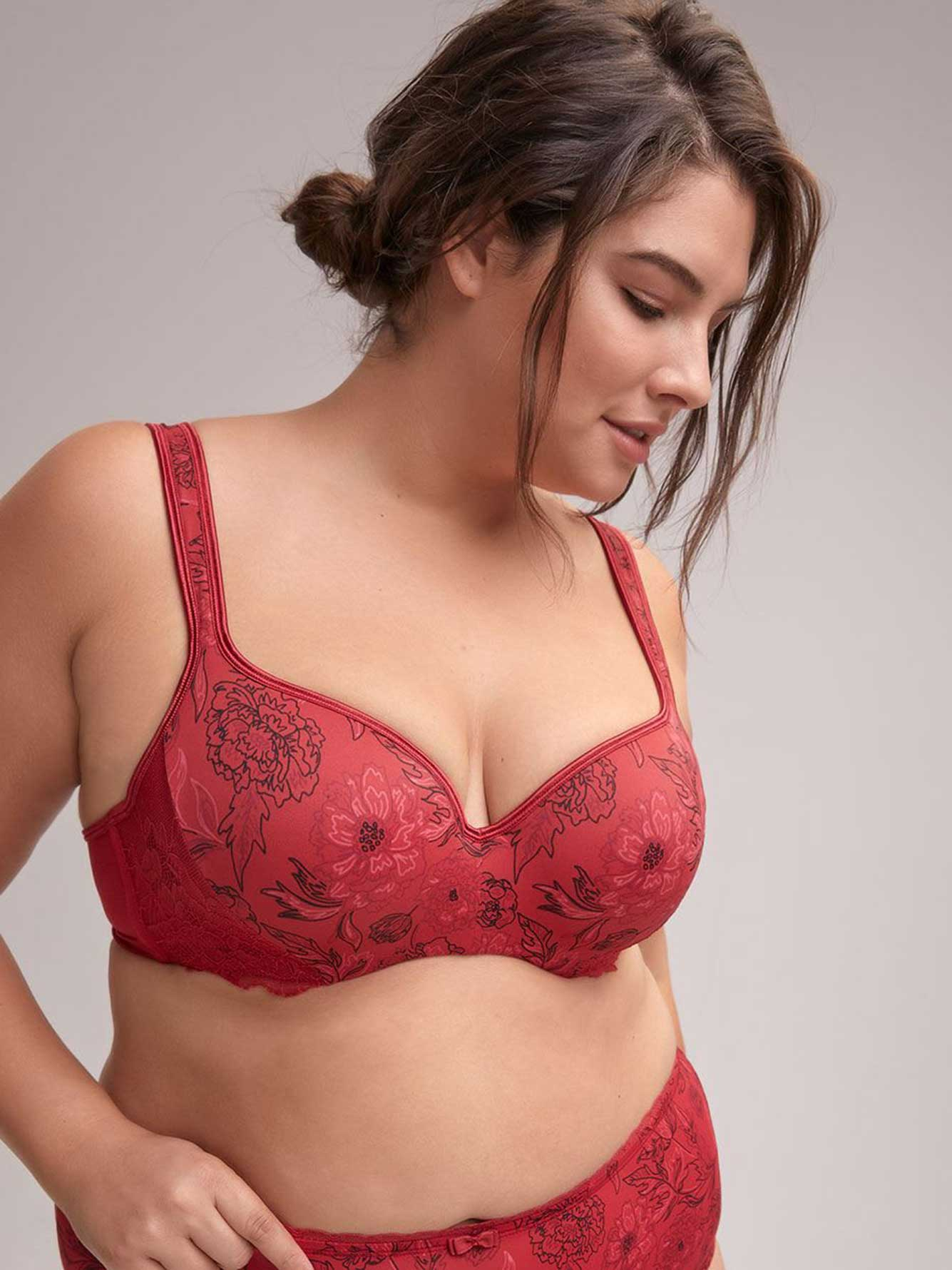 Floral Padded T-Shirt Bra with Lace, G & H Cups - ti Voglio