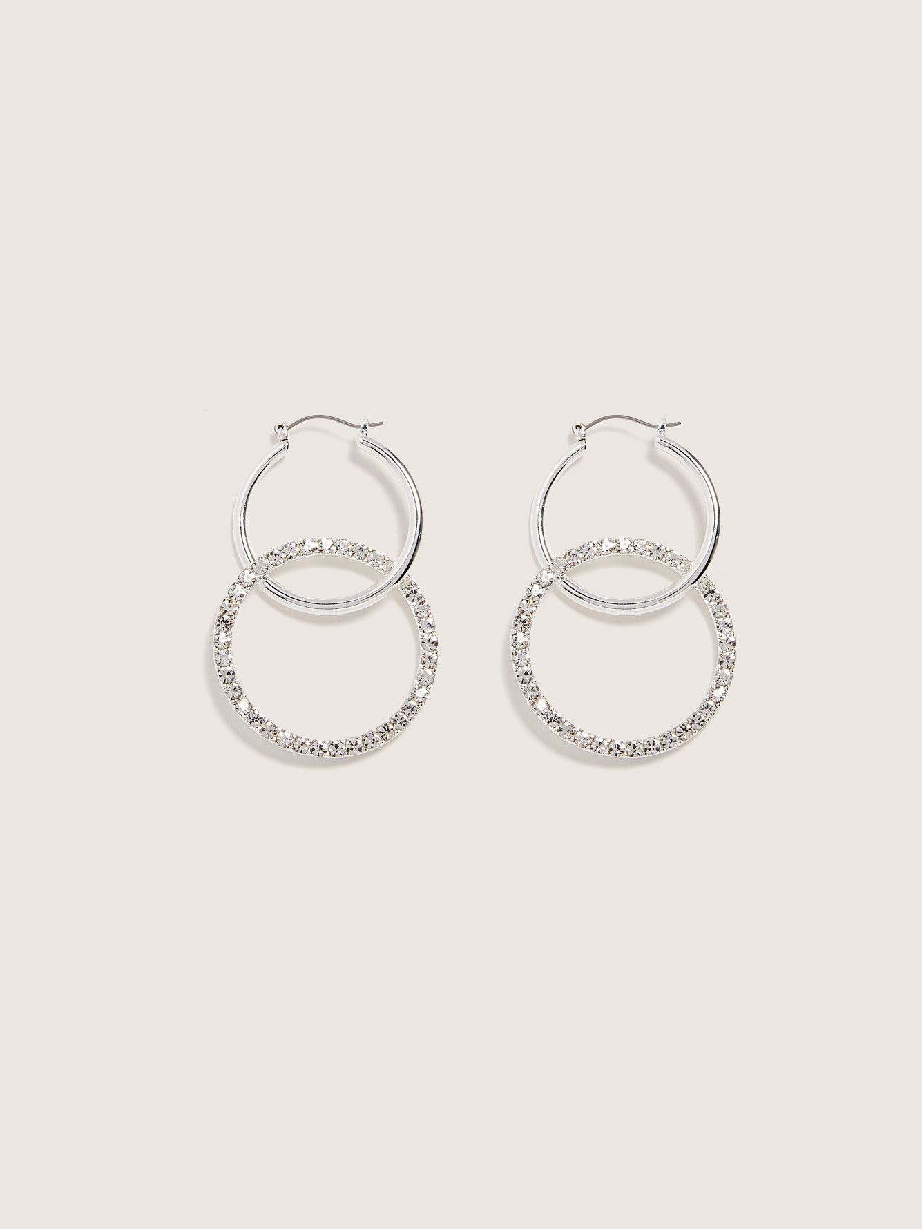 Mix Media Earrings with Glass Stone - Addition Elle