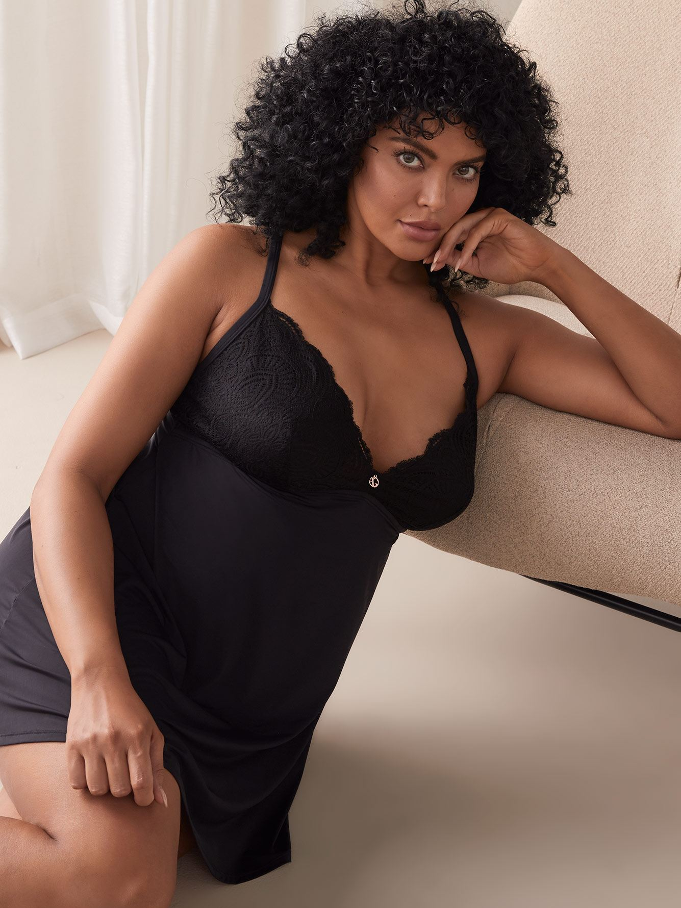 Satin Babydoll with Lace Insert - Ashley Graham
