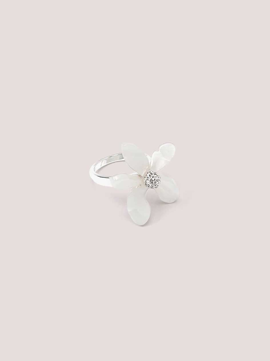 Silver Cocktail Ring with Flower