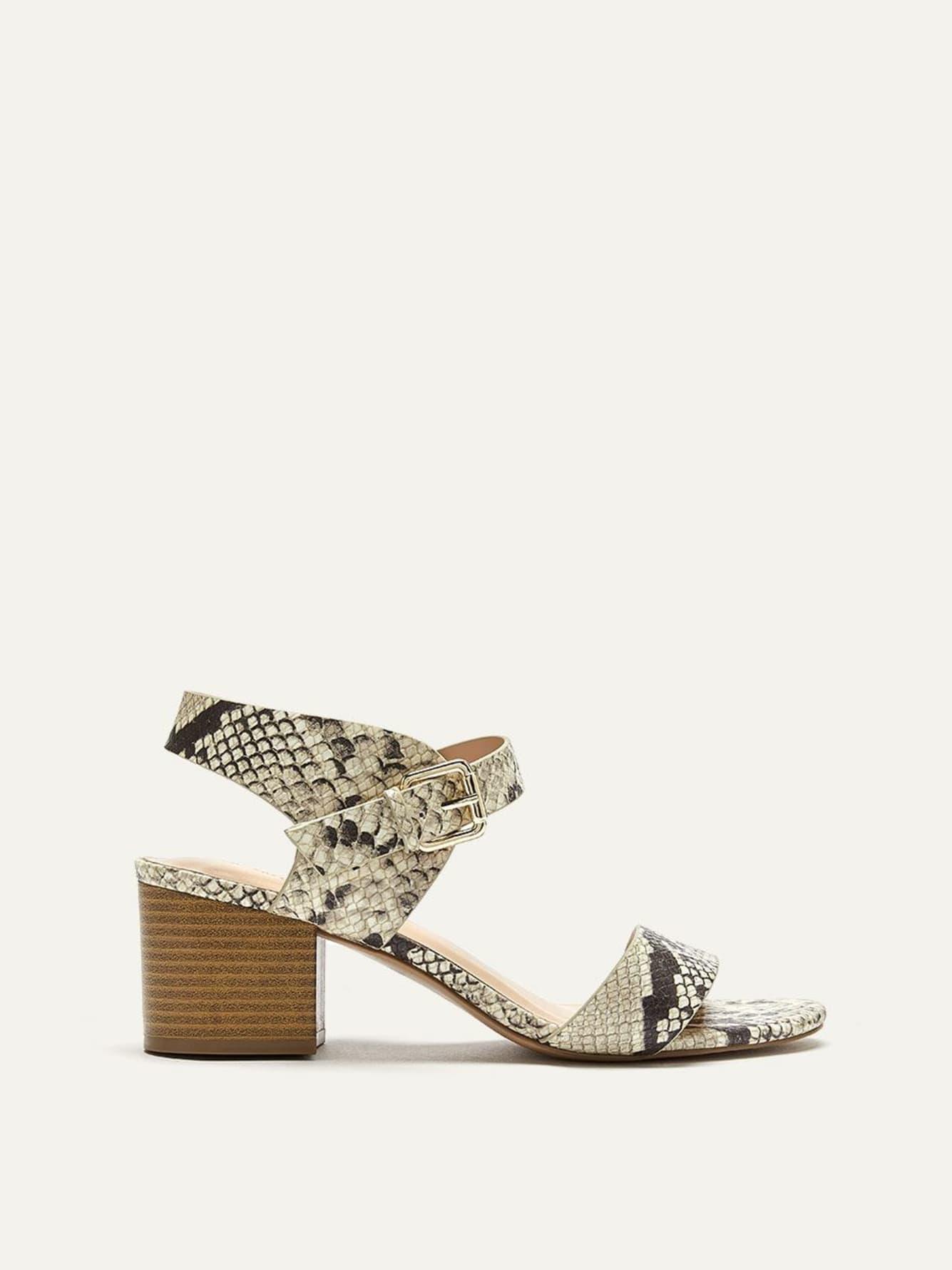 f3b26809a Snake Print Block Heel Sandals