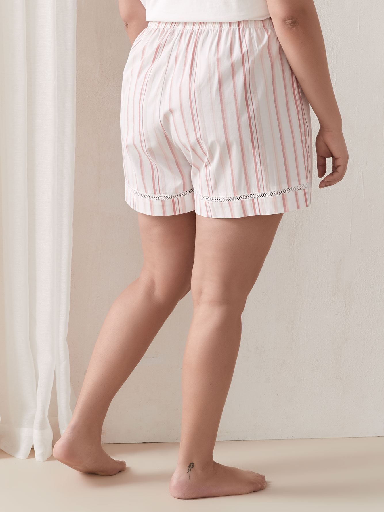 Striped Pajama Pull-On Short - Addition Elle